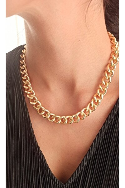 Simplicty Kadın Altın Renk Kalın Zincir Kolye