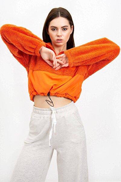 Mossta Kadın Turuncu Peluş Crop  Sweatshirt