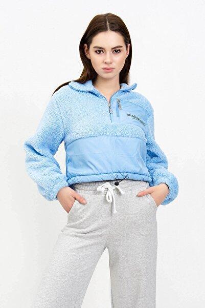 Mossta Kadın Mavi Peluş Crop Sweatshirt