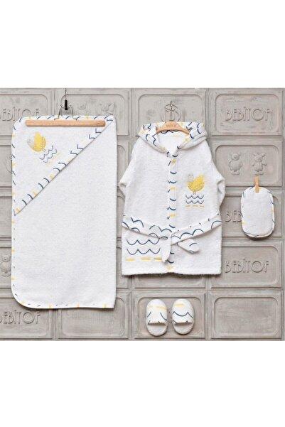 Bebitof Baby Unisex Çocuk Beyaz Bornoz