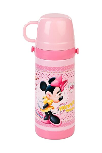 DISNEY Lisanslı Minnie Mouse Kız Çocuk Termos Suluk Matara Bardek Kapak