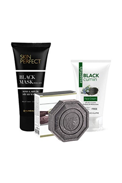 Huncalife Skin Perfect Siyah Maske 100 ml + Naturilies Killi Karbonlu Sabun 90 gr + Çörek Otu Yüz Kremi 50ml