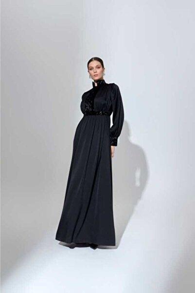 Mimya Kadın Siyah Kadife Garnili Elbise