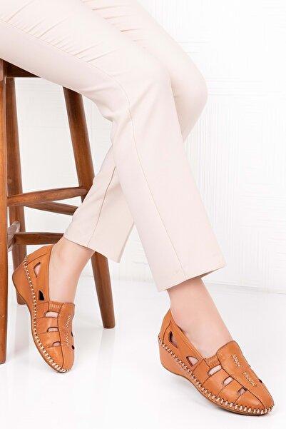 Gondol Kadın Taba Deri Ortopedik Taban Sandalet