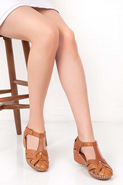Gondol Kadın Taba Deri Ortopedik Taban Cırtlı Sandalet