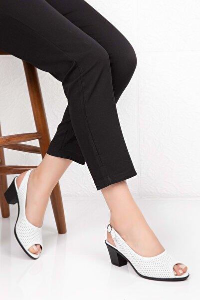 Gondol Kadın Beyaz Hakiki Deri Topuklu Ayakkabı