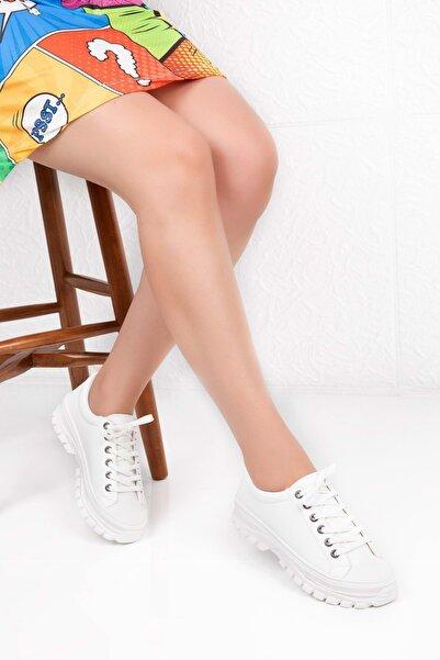 Gondol Kadın Beyaz Memory Comfort Rahat Taban Sneaker