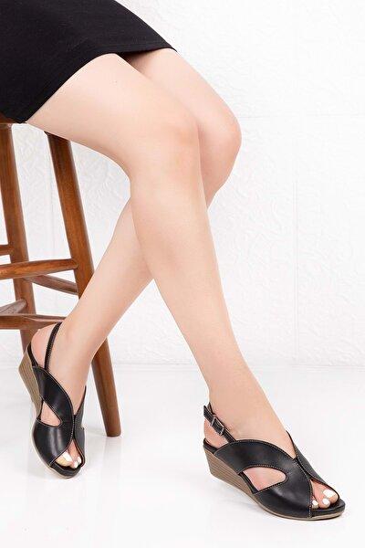 Gondol Kadın Siyah  Deri Anatomik Taban Sandalet