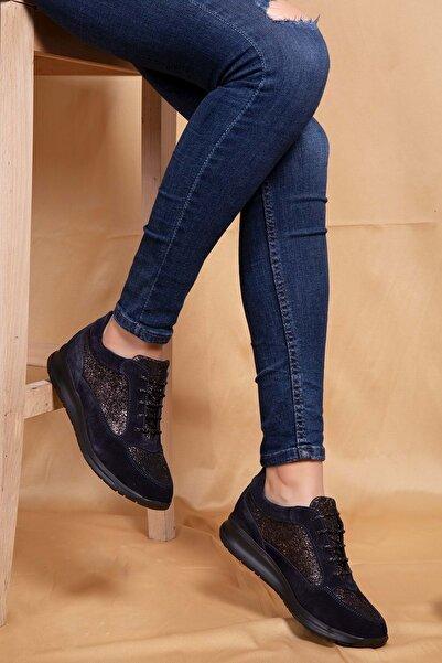 Gondol Kadın Lacivert  Deri Anatomik Hafif Taban Ayakkabı