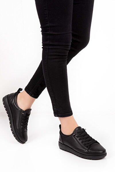 Gondol Kadın Siyah Hakiki Deri Ortopedik Taban Günlük Ayakkabı
