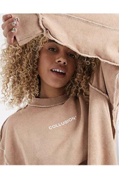 River Island Kadın Toprak Rengi Oversize Sweatshirt
