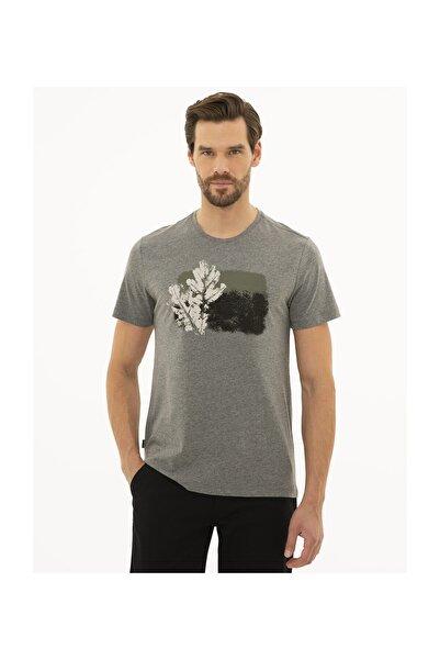 Pierre Cardin Erkek Koyu Gri Melanj Slim Fit T-Shirt