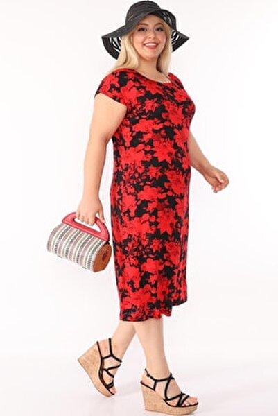 Kadın Büyük Beden Elbise Kısa Kollu Siyah Üzerine Kırmızı Çiçek Desenli Bisiklet Yaka Diz Altı