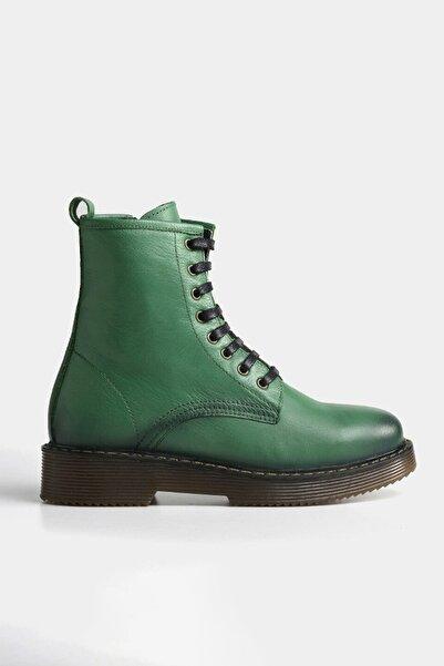 Hotiç Hakiki Deri Yeşil Yaya Kadın Bot & Çizme