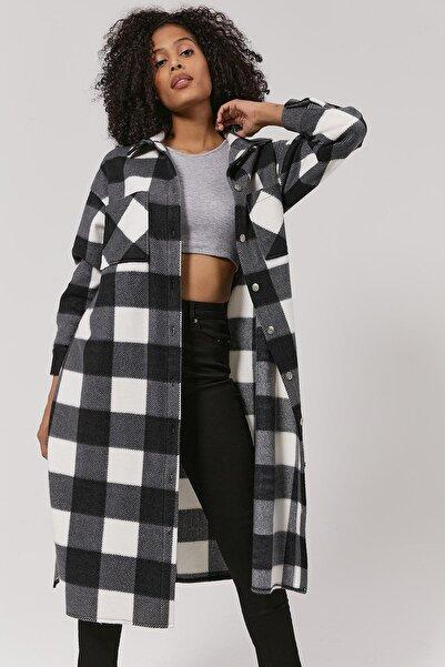 Y-London Kadın Siyah Ekoseli Uzun Oduncu Ceket Y20W110-5085