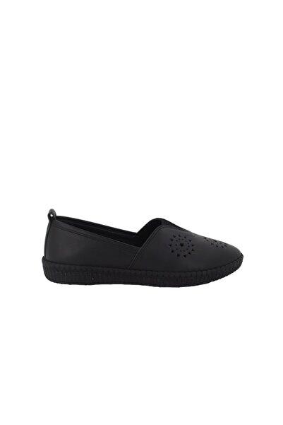 Hobby Siyah Deri Kadın Ayakkabı Fb118