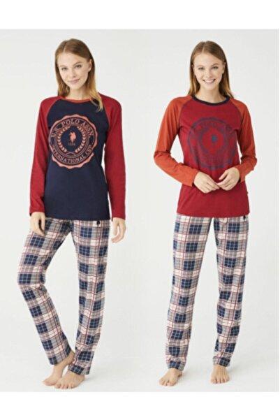 U.S. Polo Assn. Us Polo 16370 Bordo Bayan Yuvarlak Yaka Pijama Takimi