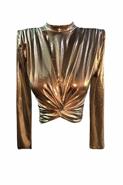 GIRA-GIRA Vatkalı Uzun Kollu Düğümlü Kısa Bluz