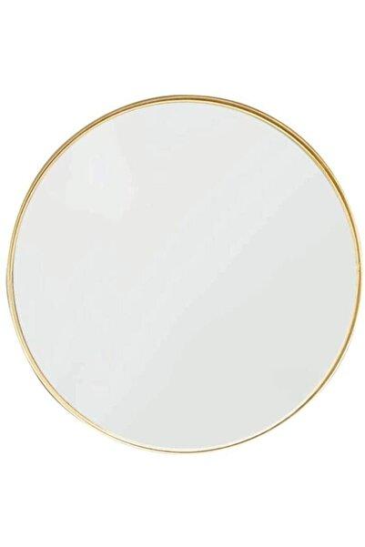 Otto Asu 90 Cm Metalik Mat Gold Yuvarlak Ahşap Çerçeveli Dekoratif Ayna