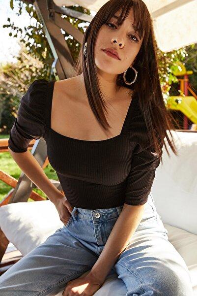 Lafaba Kadın Siyah Balon Kollu Crop Bluz