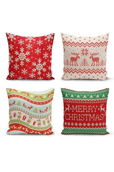 Realhomes Merry Christmas Temalı Konsept 4'lü Yastık Kırlent Kılıfı