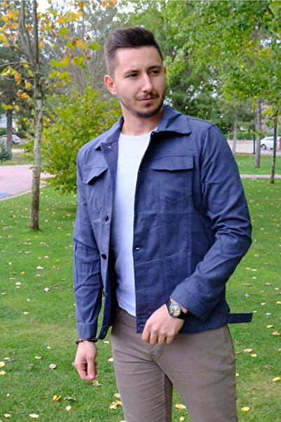 Zoom Erkek Koyu Mavi Dokulu Kot Ceket