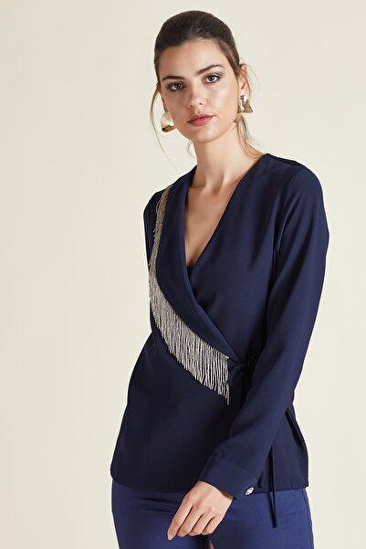 SERPİL Kadın Lacivert Saçaklı Anvelop Bluz