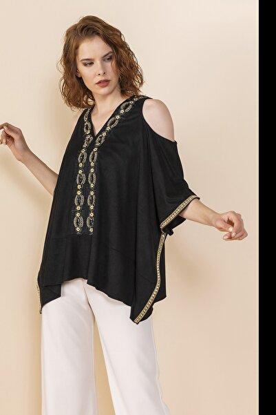 SERPİL Kadın Siyah Omuz Detaylı Bluz