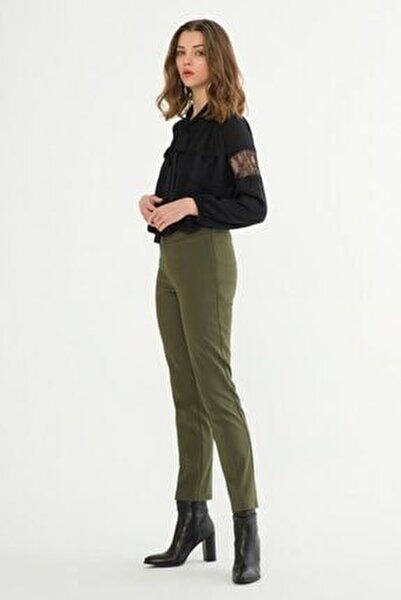 Kadın Haki Fermuarlı Pantolon 15318418019034