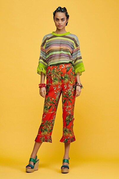 adL Kadın Turuncu Paçası Pilili Pantolon