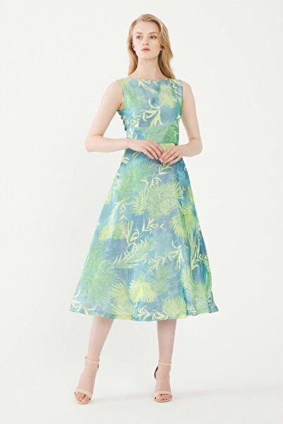 adL Kadın Turkuaz Desenli Elbise 12438871000215