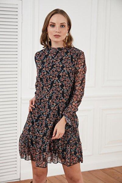 Morpile Kadın Kahverengi Çıtır Desen Şifon Elbise