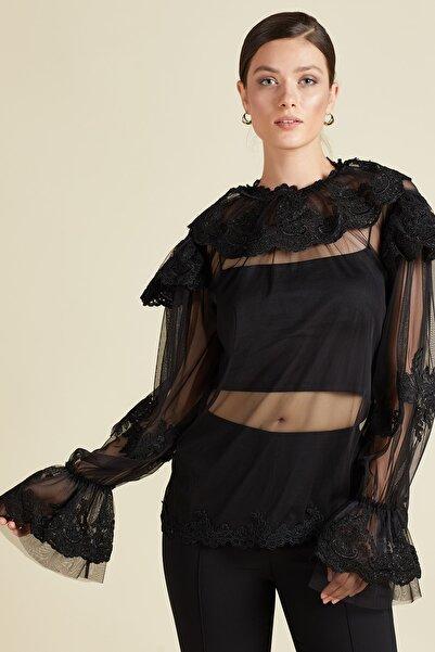 SERPİL Kadın Siyah Güpür Detaylı Tül Bluz