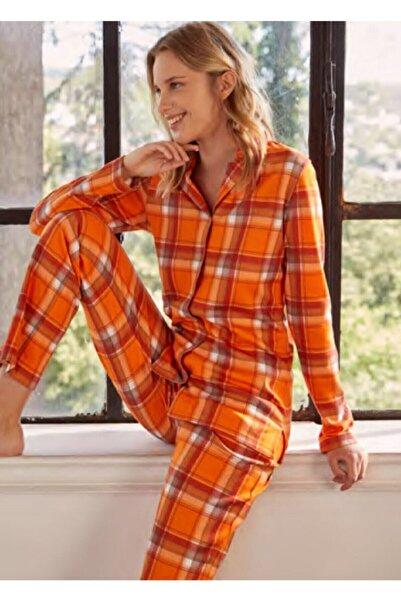 Eros Pijama Kadın Önden Düğmeli Tarçın Pijama Takım Eros-27560
