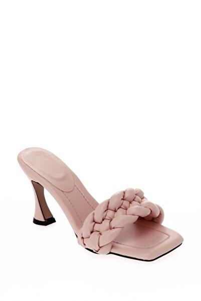 ShoeTek Kadın Pudra Cilt Örgü Topuklu Ayakkabı 030-609