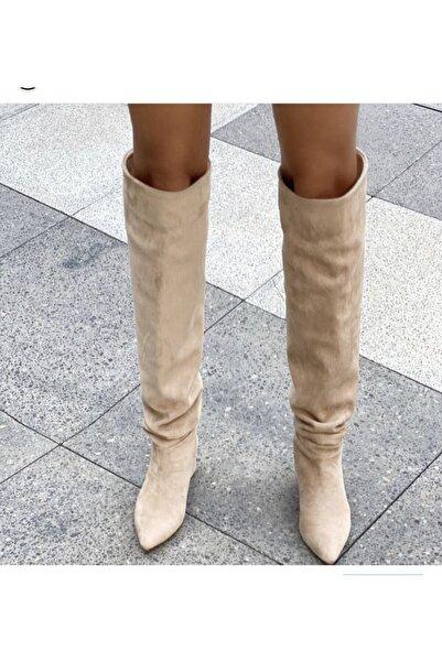 Giydim Gidiyor Kadın Bej Nude Giselle Uzun Süet Çizme