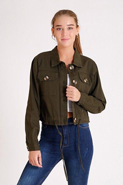 My Style Kadın Haki Gabardin Kısa Ceket