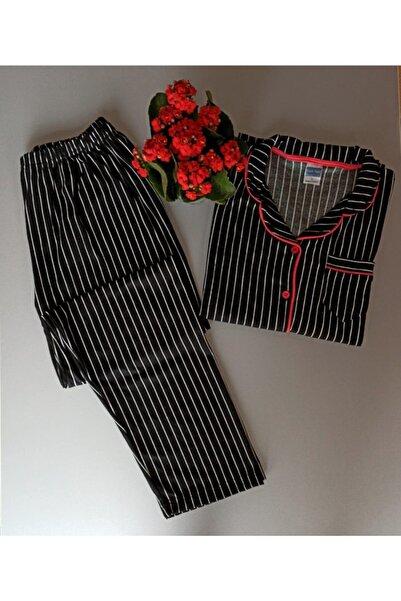 NOCHES PYJAMAS Kadın Siyah Çizgili Düğmeli Pijama Takımı