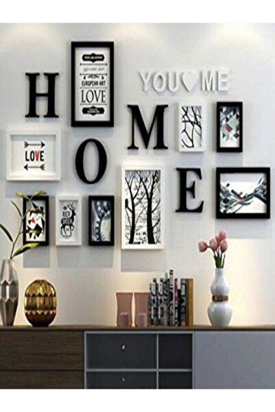 NT Handmade Siyah Ahşap Home Duvar Yazısı Duvar Dekoru Ev Antre Kapı Süsü İçin Lazer Kesim Mdf 60x20 cm Tablo