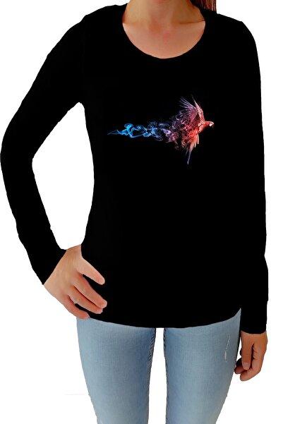Tshigo Kadın Siyah Flash Likralı Uzun Kollu  T-Shirt