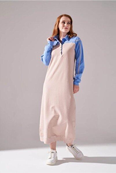 Mizalle Kadın Mavi Iki Iplik Polo Yaka Elbise