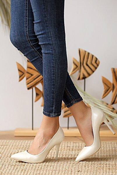 Pembe Potin Kadın Sedef Klasik Topuk