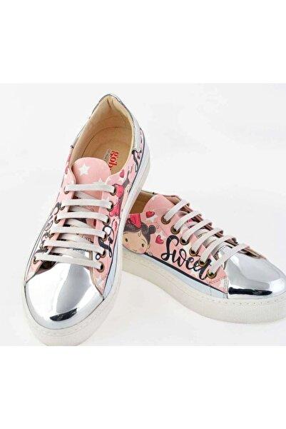 Goby Kadın Beyaz Özel Tasarım-baskılı-küçük Kız Desenli Sneaker