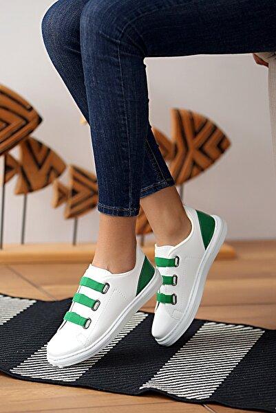 Pembe Potin Kadın Beyaz Yeşil Ayakkabı