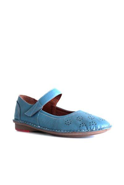 Beta Shoes Hakiki Deri Kadın Sandalet Mavi