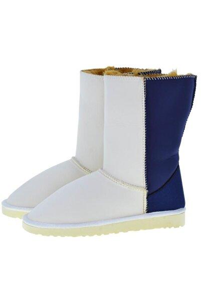 Antarctica Boots Kadın Beyaz Lacivert Dalgıç Kumaş Içi Kürklü Bot Ganwn-00016
