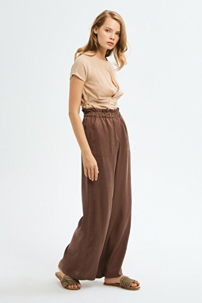adL Kadın Kahverengi Bol Paça Pantolon