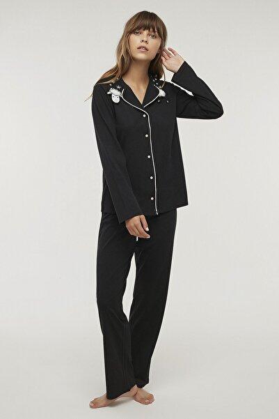 Penti Kadın Siyah Siyah Falling Stars Pijama Takımı