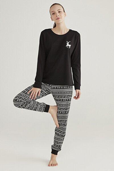 Penti Kadın Siyah Siyah Family Fairisle Pijama Takımı