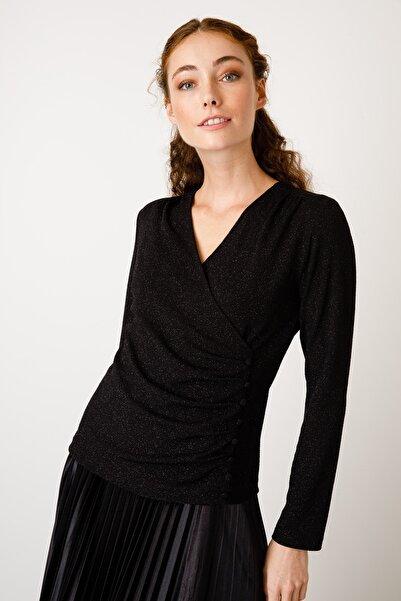 Ekol Kadın Siyah V Yaka Simli Bluz